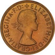 """½ Penny - Elizabeth II (1er portrait ; avec """"F:D:"""") – avers"""
