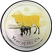 1 dollar Année du bœuf (série II, partiellement doré) -  revers
