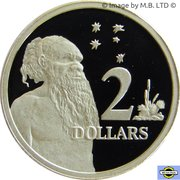 2 Dollars - Elizabeth II (3rd portrait; Aboriginal Man) -  revers