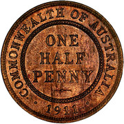 ½ Penny - George V -  revers