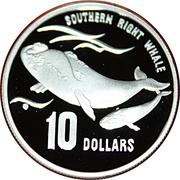 10 Dollars - Elizabeth II (Baleine franche australe) -  revers