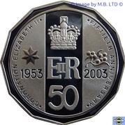 50 Cents - Elizabeth II (Coronation Jubilee) Silver Proof -  revers