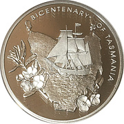 5 Dollars - Queen Elizabeth II (Bicentenary of Tasmania) -  revers