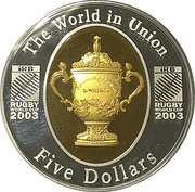 5 Dollars - Queen Elizabeth II Rugby World Cup Selectively Gold Plated Proof Coin -  revers
