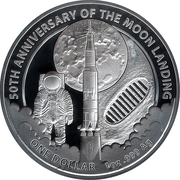 1 Dollar - Elizabeth II (Moon Landing ) -  revers