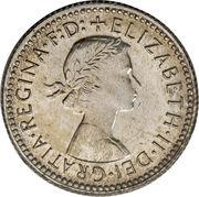 """6 pence Elizabeth II (1ère effigie, avec """"·F:D:"""") -  avers"""