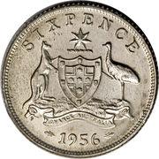 "6 pence Elizabeth II (1ère effigie, avec ""·F:D:"") -  revers"