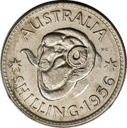 "1 shilling Elizabeth II (1ère effigie, avec ""·F:D:"") -  revers"