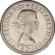 "1 florin Elizabeth II (1ère effigie, avec ""·F:D:"") – avers"