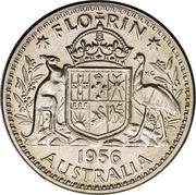 "1 florin Elizabeth II (1ère effigie, avec ""·F:D:"") – revers"