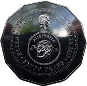 """50 cents - Elizabeth II (50 ans de la devise """"Decimal"""") -  avers"""