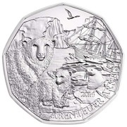 5 euros Archipel François-Joseph (argent) -  revers