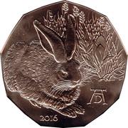 5 euros Le lièvre de Dürer (cuivre) -  revers
