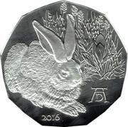 5 euros Le lièvre de Dürer (argent) -  revers