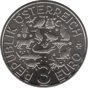3 euros La tortue -  avers