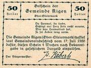50 Heller (Aigen; Grey issue) – revers