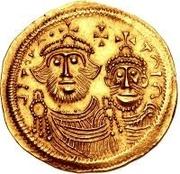 1 solidus Au nom d'Héraclius, 610-641 & Héraclius Constantin, 641 (croix avec bouts plats; bustes égaux avec inscription brisée) – avers
