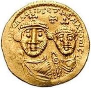 1 solidus Au nom d'Héraclius, 610-641 & Héraclius Constantin, 641 (croix avec bouts plats; bustes égaux avec inscription non brisée) – avers
