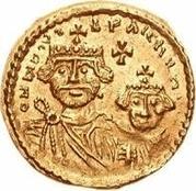 1 solidus Au nom d'Héraclius, 610-641 & Héraclius Constantin, 641 (croix avec bouts plats; buste droit court) – avers