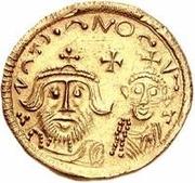 1 solidus Au nom d'Héraclius, 610-641 & Héraclius Constantin, 641 (bustes en baisse) – avers