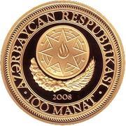 100 Manat (Heydar Aliyev 85) – avers