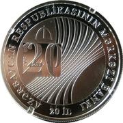 5 Manat (Central Bank of Azerbaijan 20 years) – revers