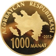 1000 Manat (Heydar Aliyev 90) – avers
