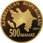 500 Manat (Heydar Aliyev 90) – avers