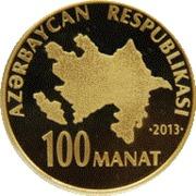 100 Manat (Heydar Aliyev 90) – avers