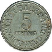 5 pfennig - Backnang – avers