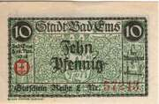 10 Pfennig (Stadt Bad Ems) – avers