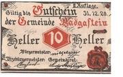 10 Heller (Bad Gastein) – avers