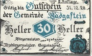 30 Heller (Bad Gastein) – avers