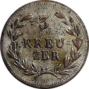 3 kreuzer Ludwig I. – revers