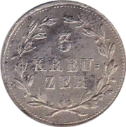 3 kreuzer Ludwig I – revers