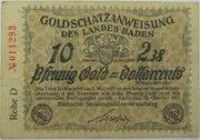 10 Pfennig Gold (Baden; Goldschatzanweisung) – avers