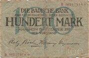 100 Mark (Badische Bank) – avers
