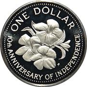 1 dollar (10ème anniversaire de l'indépendance) – revers