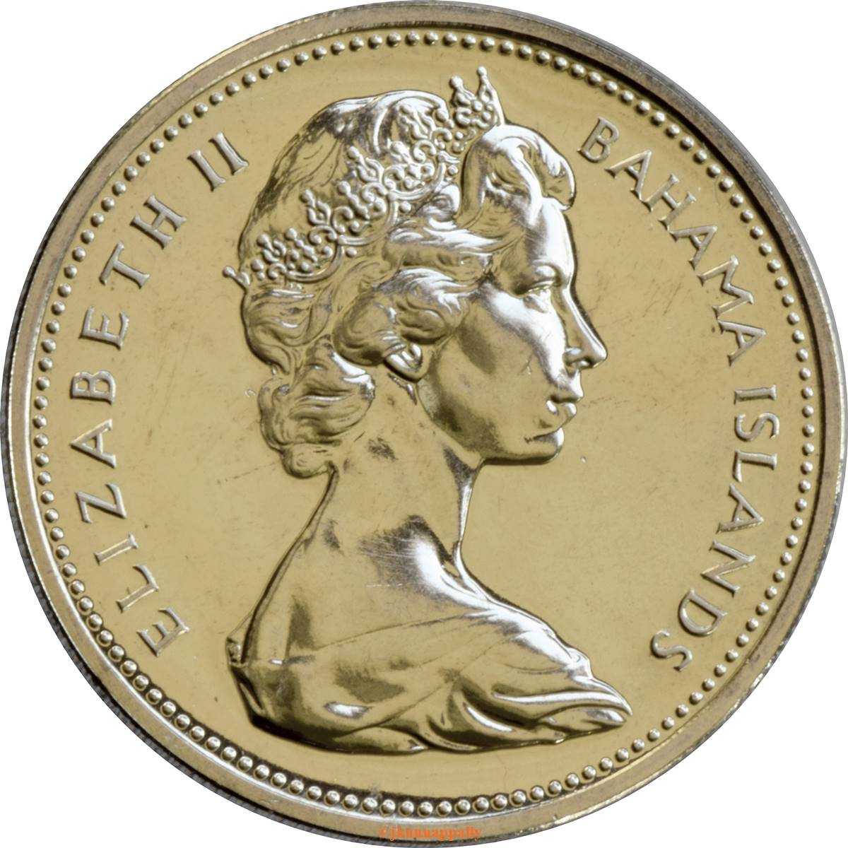 57h Coins 25 Cents Queen Elizabeth Ii 1966 Bahamas