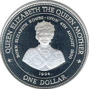 1 dollar  (La reine mère) – revers