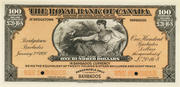 100 Dollars / 20 Pounds 16 Shillings 8 Pence (Royal Bank of Canada) – avers