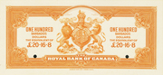 100 Dollars / 20 Pounds 16 Shillings 8 Pence (Royal Bank of Canada) – revers