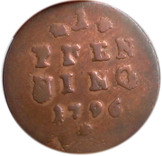 1 pfennig Karl Theodor – revers