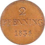 2 pfenning Ludwig I – revers