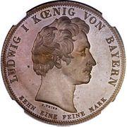 1 thaler Ludwig I. (Union des douanes; Frappe essai en cuivre) – avers