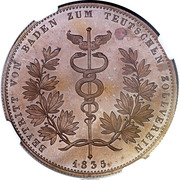 1 thaler Ludwig I. (Union des douanes; Frappe essai en cuivre) – revers