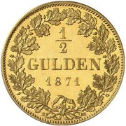 1/2 Gulden - Ludwig II (Gold Pattern) – revers