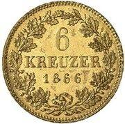 6 Kreuzer - Ludwig II (Gold Pattern) – revers