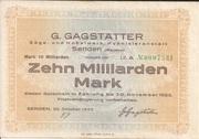 10,000,000,000 Mark (Senden - G. Gagstätter) – avers