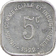 5 Centimes - Union Commerciale et Industrielle - Bayeux [14] – revers